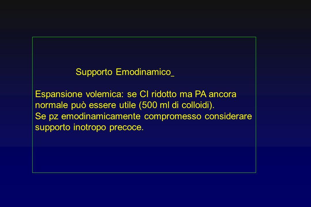 Supporto Emodinamico Espansione volemica: se CI ridotto ma PA ancora normale può essere utile (500 ml di colloidi). Se pz emodinamicamente compromesso
