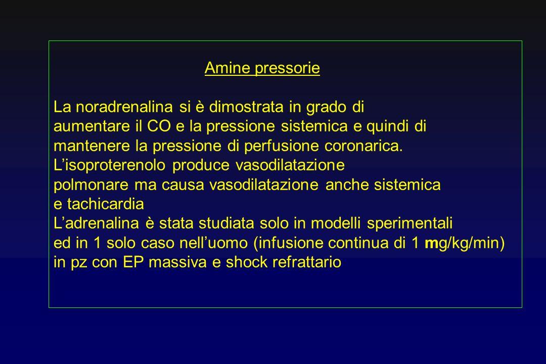 Amine pressorie La noradrenalina si è dimostrata in grado di aumentare il CO e la pressione sistemica e quindi di mantenere la pressione di perfusione