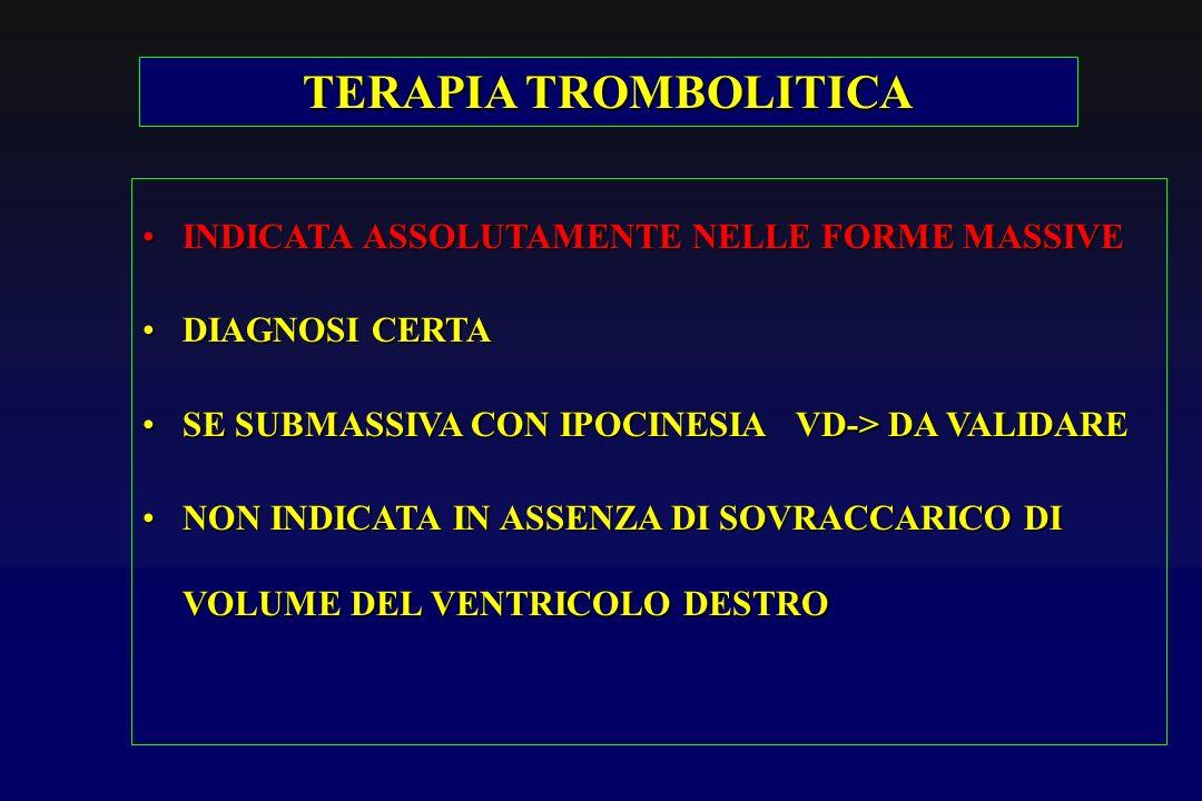 TERAPIA TROMBOLITICA INDICATA ASSOLUTAMENTE NELLE FORME MASSIVEINDICATA ASSOLUTAMENTE NELLE FORME MASSIVE DIAGNOSI CERTADIAGNOSI CERTA SE SUBMASSIVA C