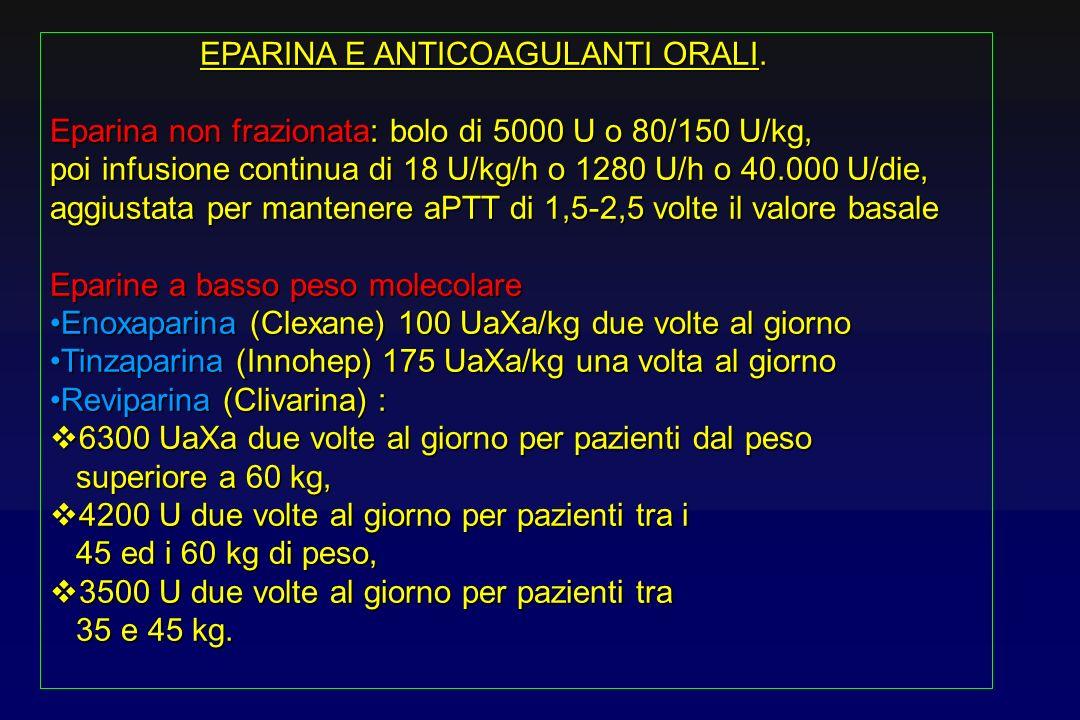 EPARINA E ANTICOAGULANTI ORALI.