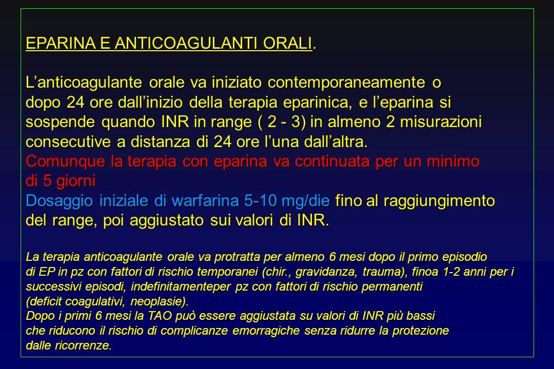 EPARINA E ANTICOAGULANTI ORALI. Lanticoagulante orale va iniziato contemporaneamente o dopo 24 ore dallinizio della terapia eparinica, e leparina si s