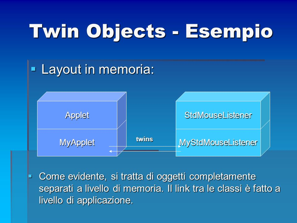 Twin Objects - Esempio Layout in memoria: Layout in memoria: MyApplet Applet MyStdMouseListener StdMouseListener twins Come evidente, si tratta di ogg