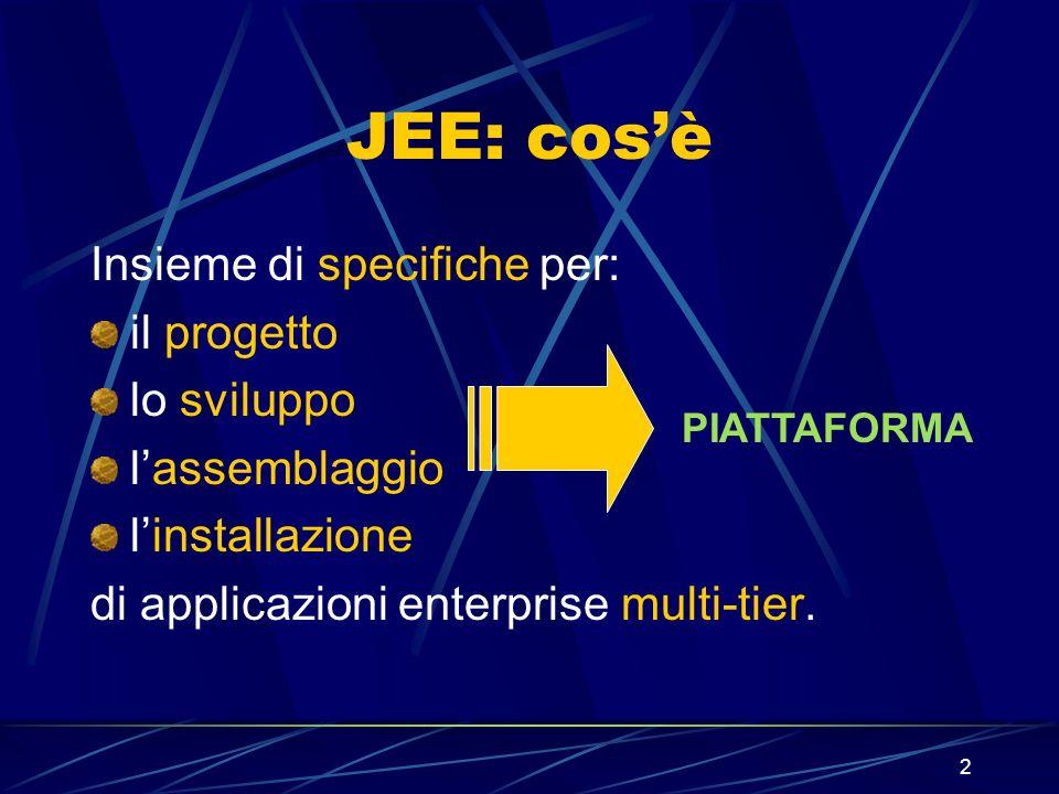 2 JEE: cosè Insieme di specifiche per: il progetto lo sviluppo lassemblaggio linstallazione di applicazioni enterprise multi-tier. PIATTAFORMA