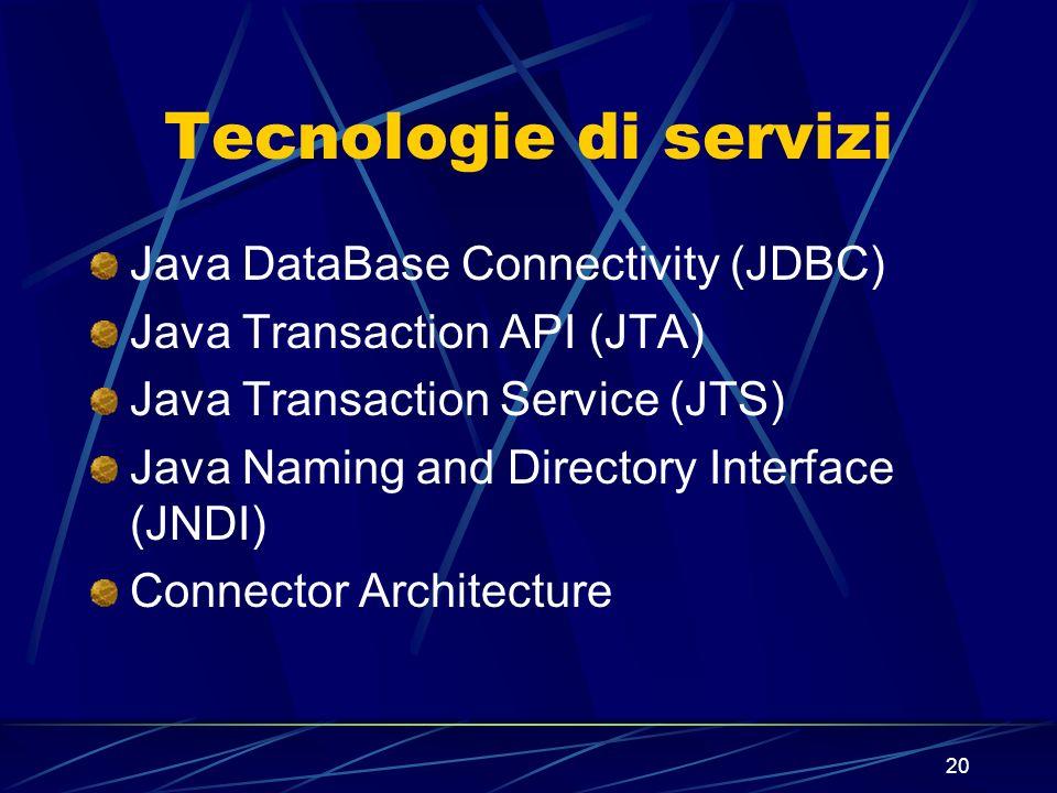 20 Tecnologie di servizi Java DataBase Connectivity (JDBC) Java Transaction API (JTA) Java Transaction Service (JTS) Java Naming and Directory Interfa