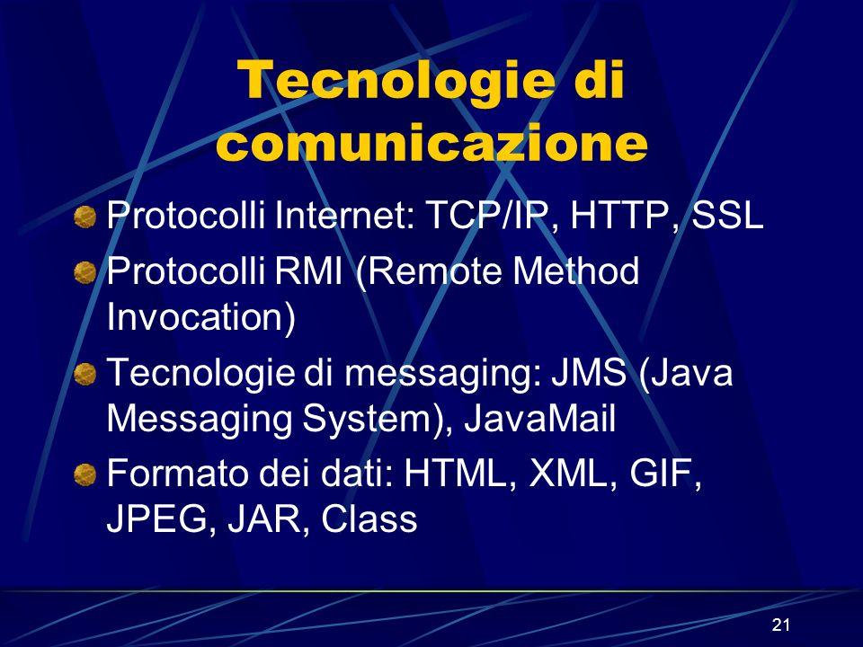 21 Tecnologie di comunicazione Protocolli Internet: TCP/IP, HTTP, SSL Protocolli RMI (Remote Method Invocation) Tecnologie di messaging: JMS (Java Mes