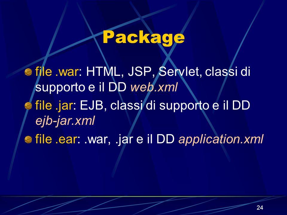 24 Package file.war: HTML, JSP, Servlet, classi di supporto e il DD web.xml file.jar: EJB, classi di supporto e il DD ejb-jar.xml file.ear:.war,.jar e