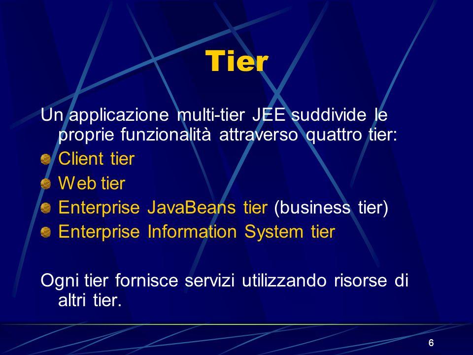 6 Tier Un applicazione multi-tier JEE suddivide le proprie funzionalità attraverso quattro tier: Client tier Web tier Enterprise JavaBeans tier (busin