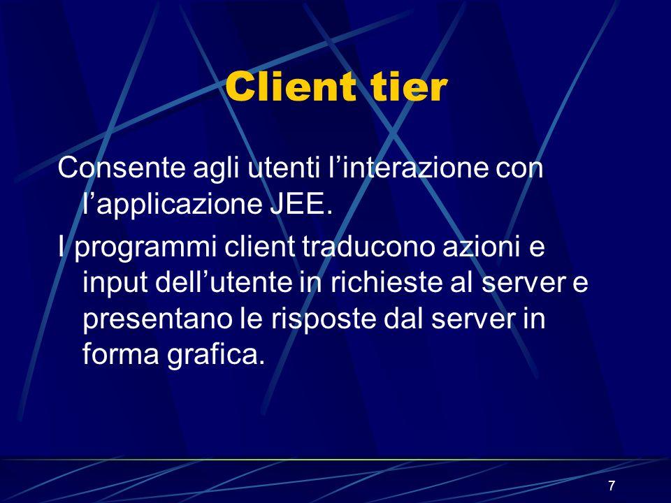 7 Client tier Consente agli utenti linterazione con lapplicazione JEE. I programmi client traducono azioni e input dellutente in richieste al server e