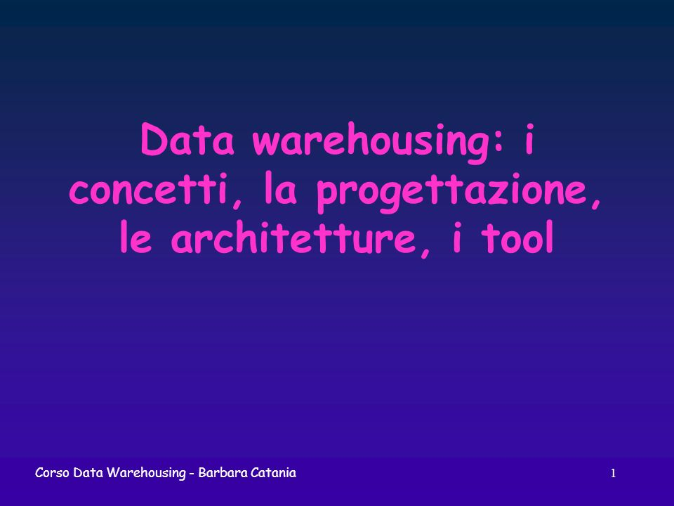 162Corso Data Warehousing In sintesi...