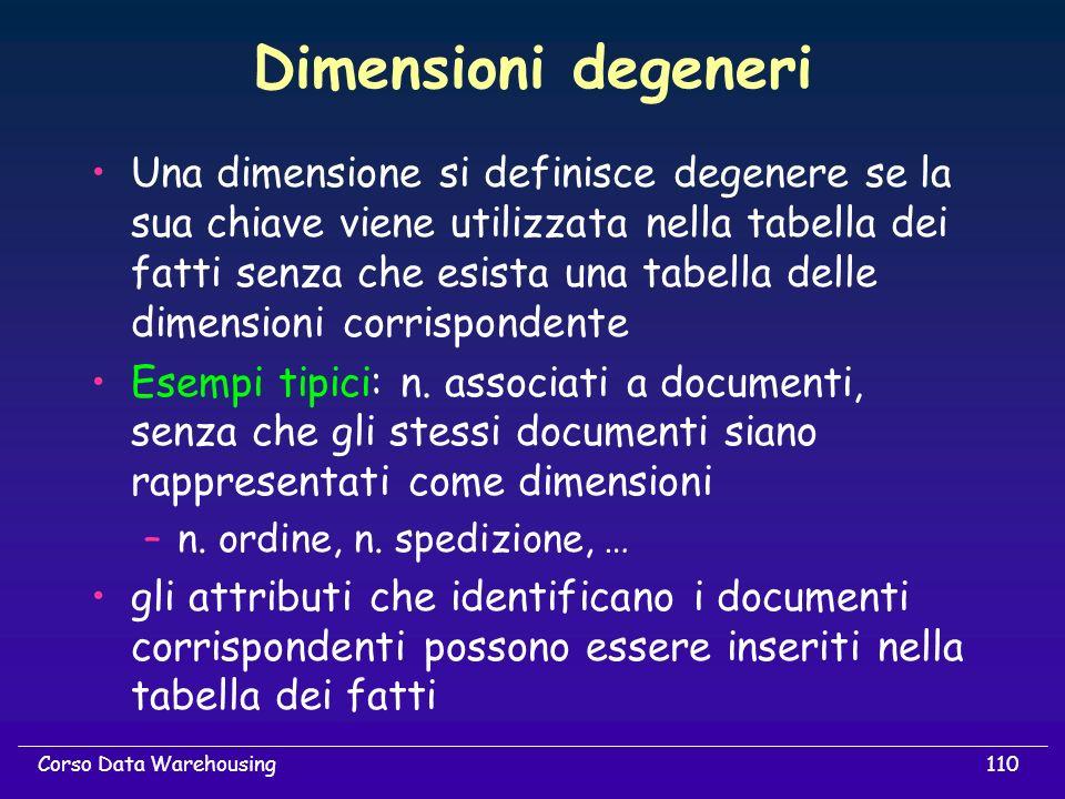 110Corso Data Warehousing Dimensioni degeneri Una dimensione si definisce degenere se la sua chiave viene utilizzata nella tabella dei fatti senza che