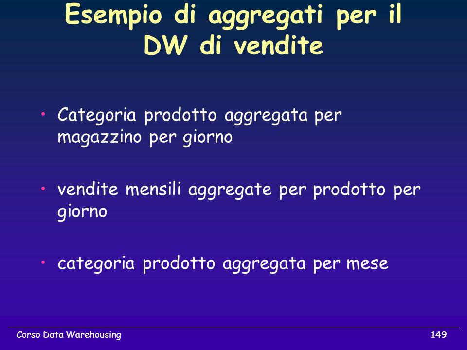 149Corso Data Warehousing Esempio di aggregati per il DW di vendite Categoria prodotto aggregata per magazzino per giorno vendite mensili aggregate pe