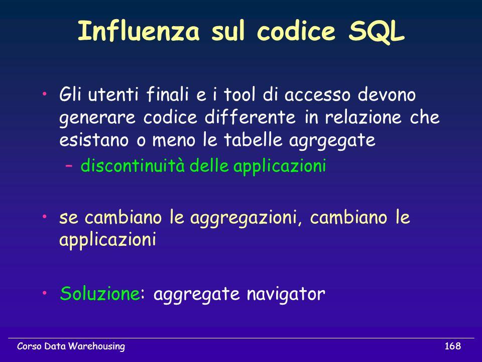 168Corso Data Warehousing Influenza sul codice SQL Gli utenti finali e i tool di accesso devono generare codice differente in relazione che esistano o