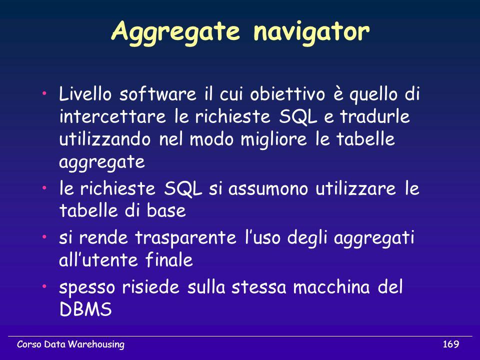 169Corso Data Warehousing Aggregate navigator Livello software il cui obiettivo è quello di intercettare le richieste SQL e tradurle utilizzando nel m