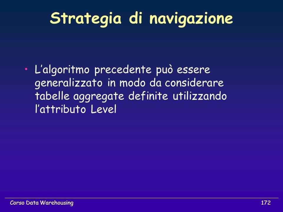 172Corso Data Warehousing Strategia di navigazione Lalgoritmo precedente può essere generalizzato in modo da considerare tabelle aggregate definite ut