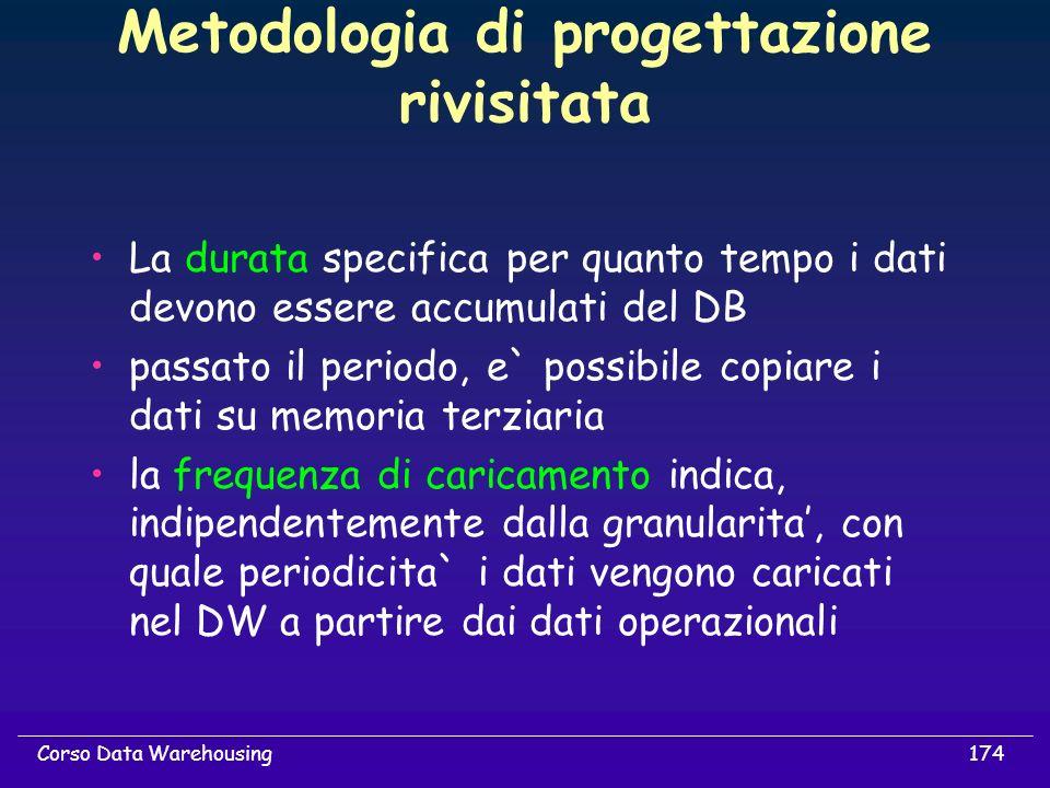 174Corso Data Warehousing Metodologia di progettazione rivisitata La durata specifica per quanto tempo i dati devono essere accumulati del DB passato