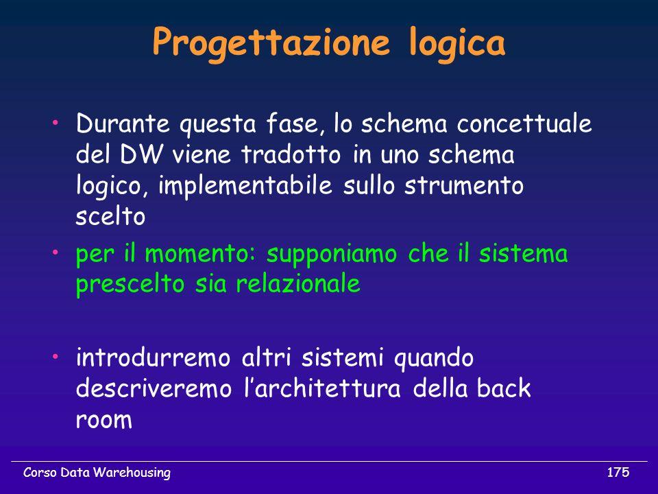 175Corso Data Warehousing Progettazione logica Durante questa fase, lo schema concettuale del DW viene tradotto in uno schema logico, implementabile s