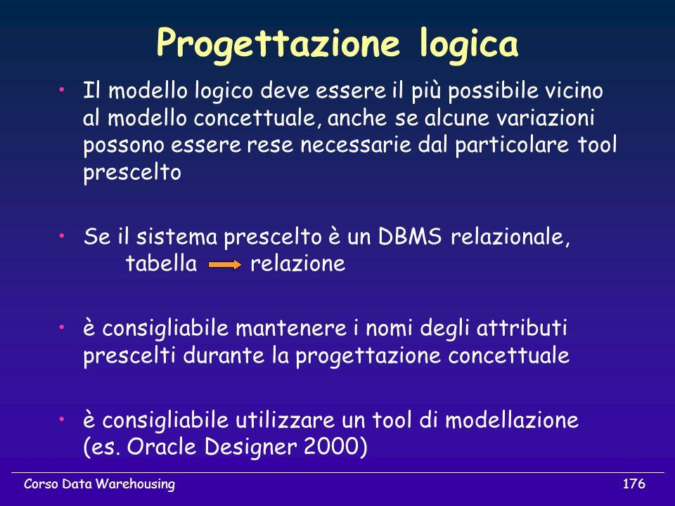 176Corso Data Warehousing Progettazione logica Il modello logico deve essere il più possibile vicino al modello concettuale, anche se alcune variazion