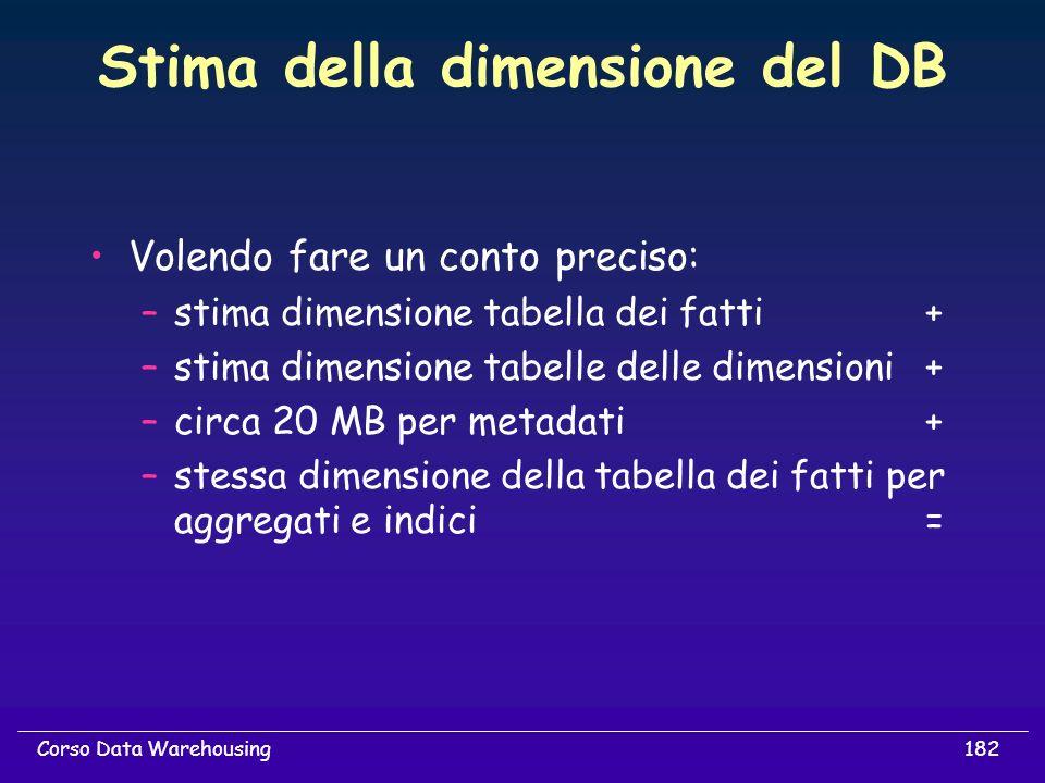 182Corso Data Warehousing Stima della dimensione del DB Volendo fare un conto preciso: –stima dimensione tabella dei fatti+ –stima dimensione tabelle