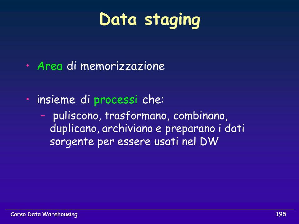 195Corso Data Warehousing Data staging Area di memorizzazione insieme di processi che: – puliscono, trasformano, combinano, duplicano, archiviano e pr