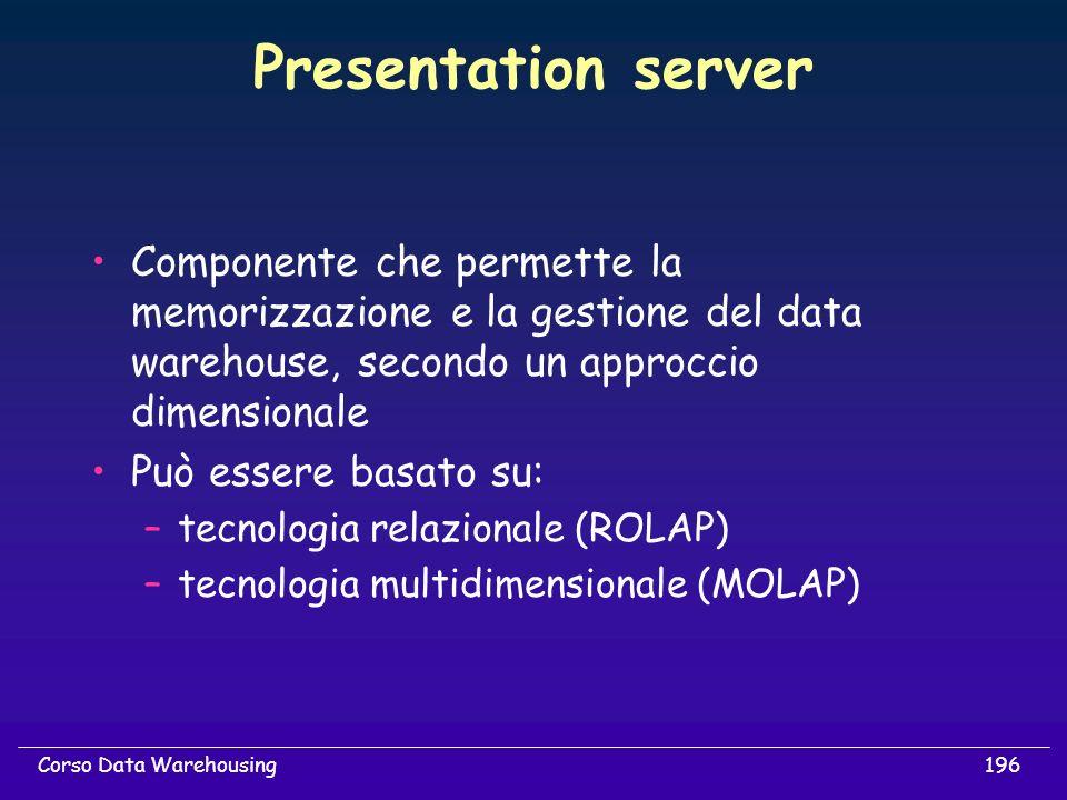 196Corso Data Warehousing Presentation server Componente che permette la memorizzazione e la gestione del data warehouse, secondo un approccio dimensi