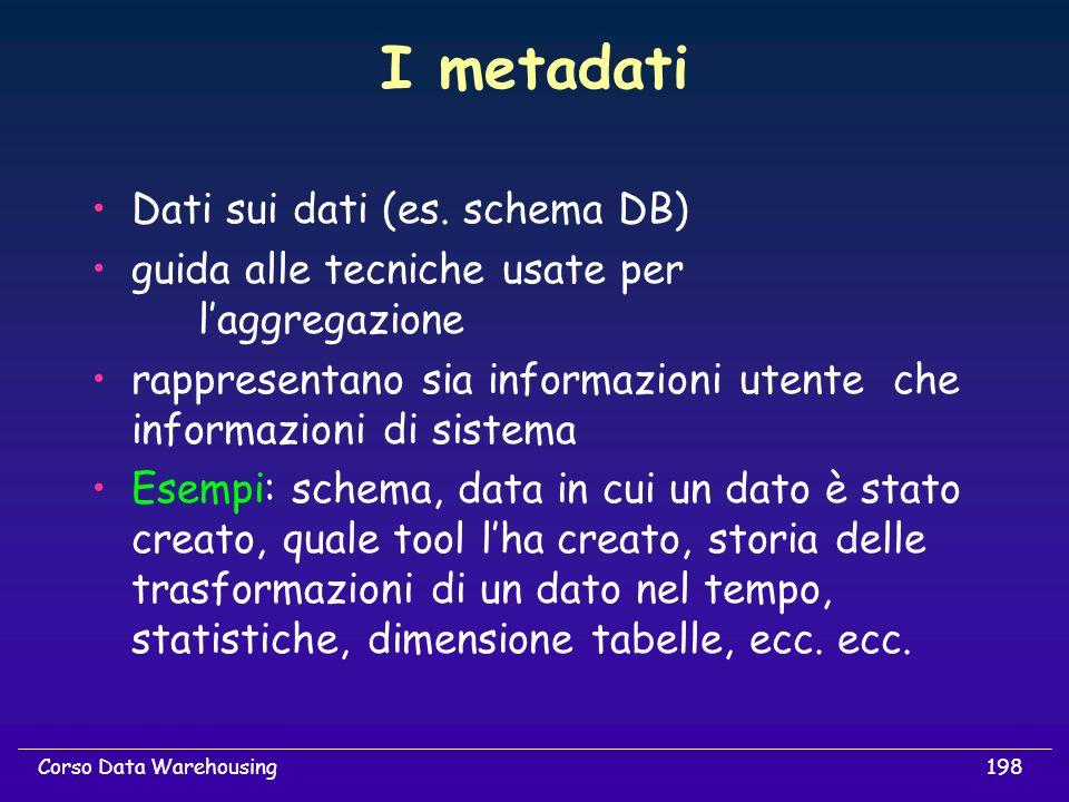 198Corso Data Warehousing I metadati Dati sui dati (es. schema DB) guida alle tecniche usate per laggregazione rappresentano sia informazioni utente c