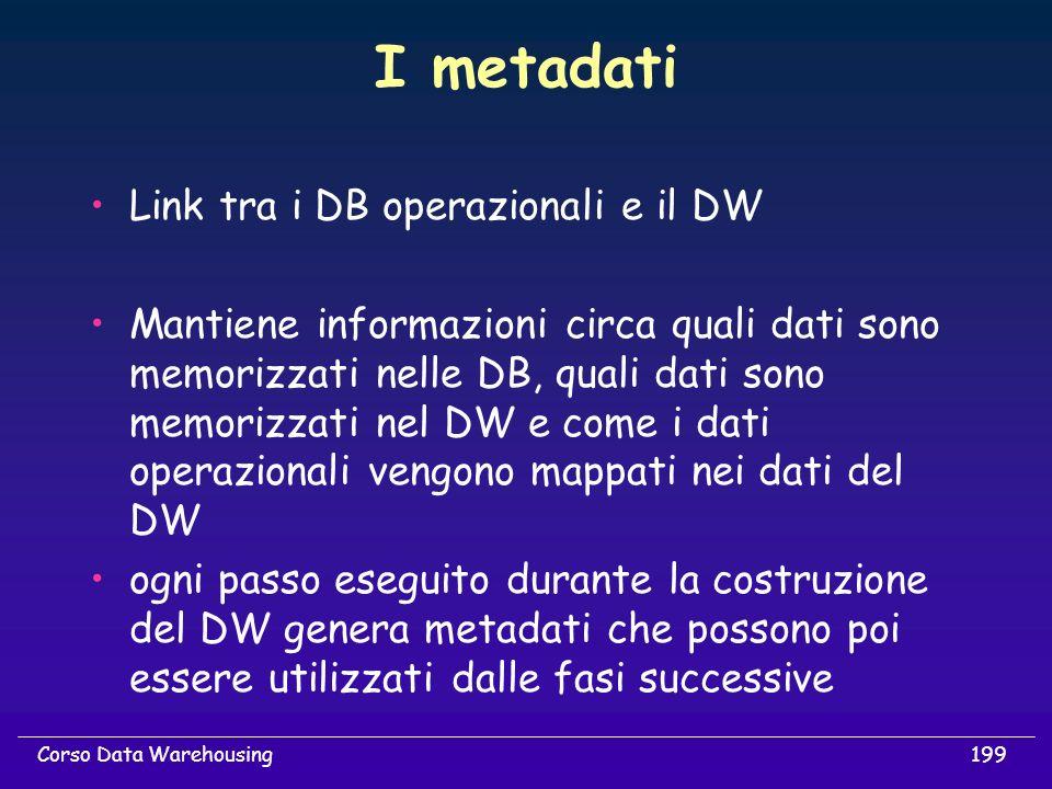 199Corso Data Warehousing I metadati Link tra i DB operazionali e il DW Mantiene informazioni circa quali dati sono memorizzati nelle DB, quali dati s