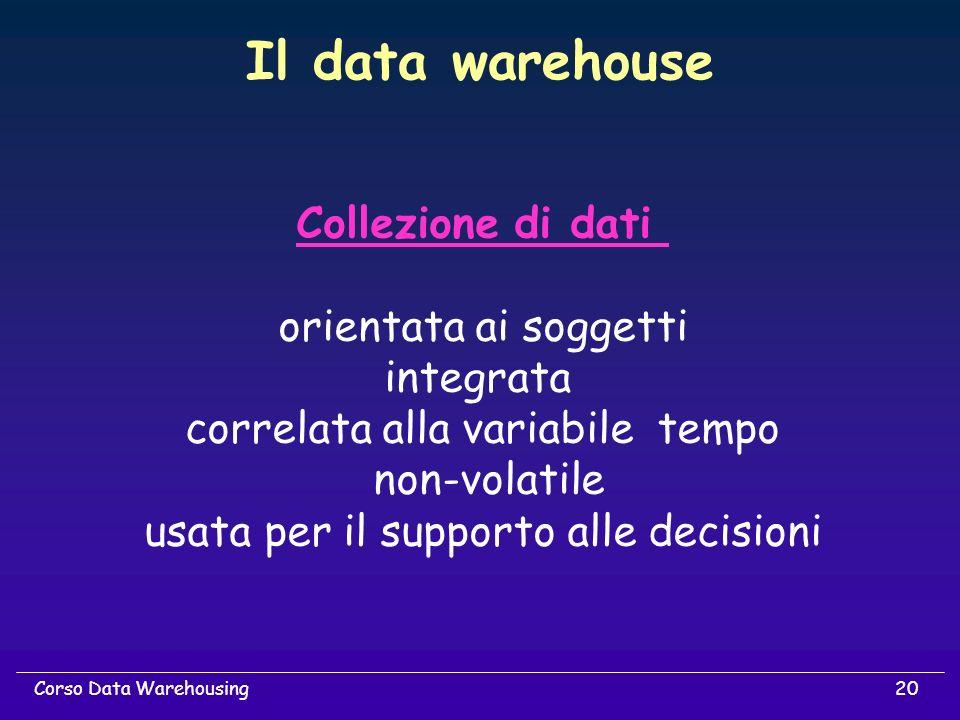 20Corso Data Warehousing Il data warehouse Collezione di dati orientata ai soggetti integrata correlata alla variabile tempo non-volatile usata per il