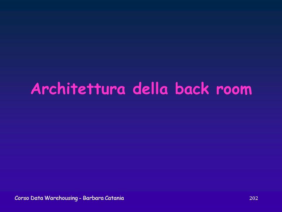 202 Corso Data Warehousing - Barbara Catania Architettura della back room