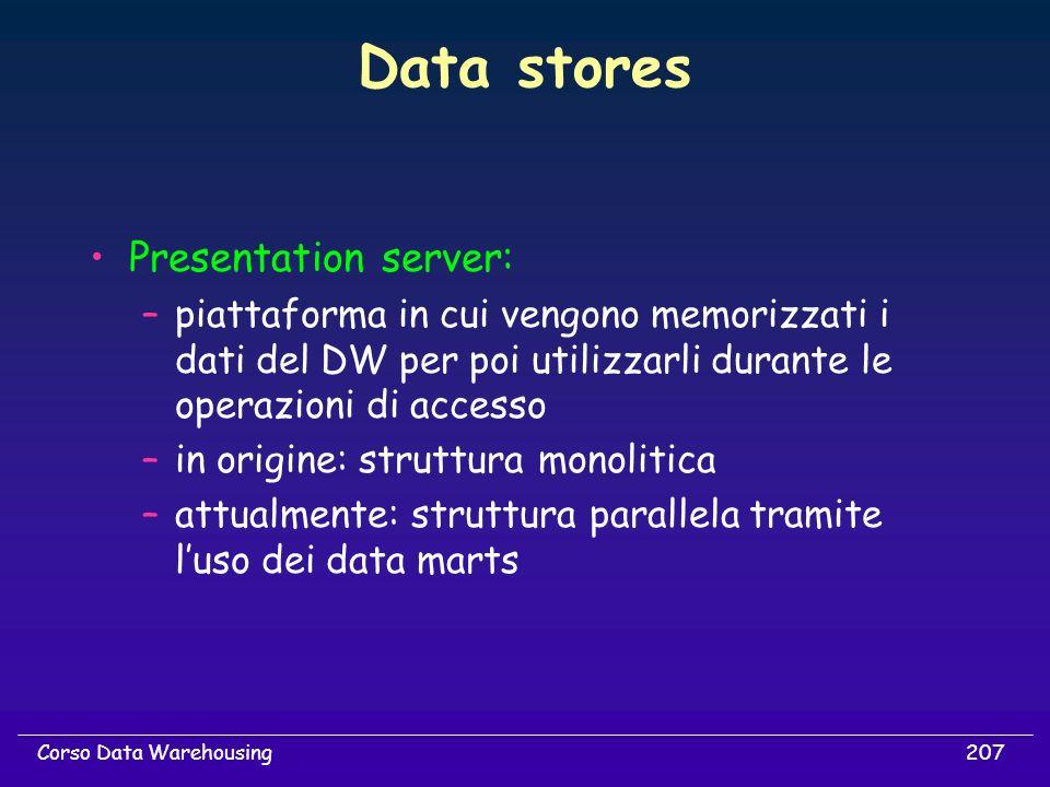207Corso Data Warehousing Data stores Presentation server: –piattaforma in cui vengono memorizzati i dati del DW per poi utilizzarli durante le operaz