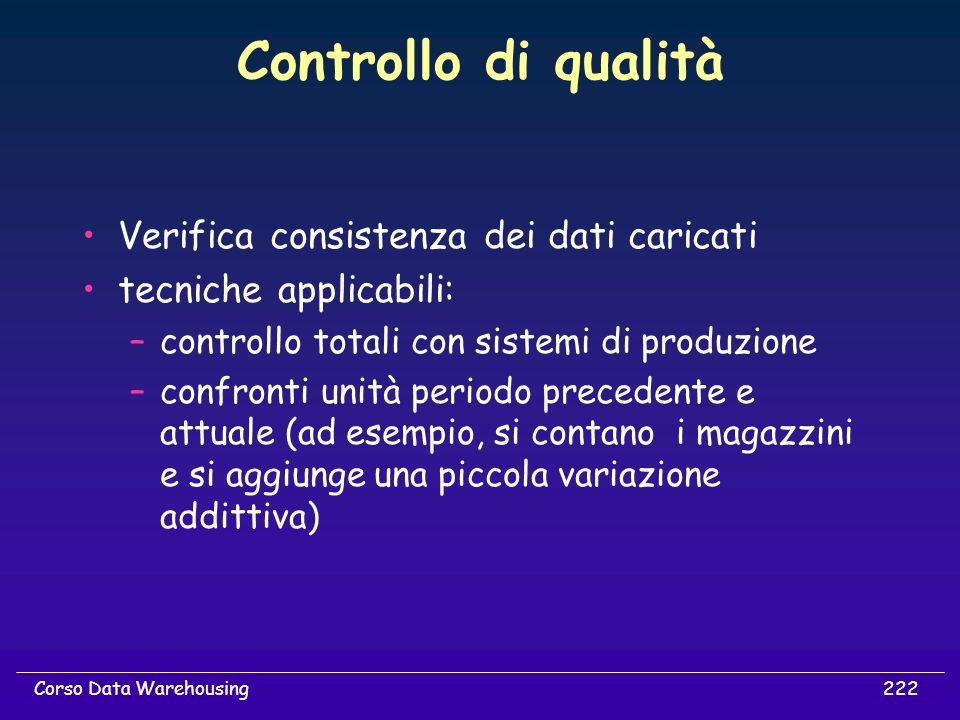 222Corso Data Warehousing Controllo di qualità Verifica consistenza dei dati caricati tecniche applicabili: –controllo totali con sistemi di produzion