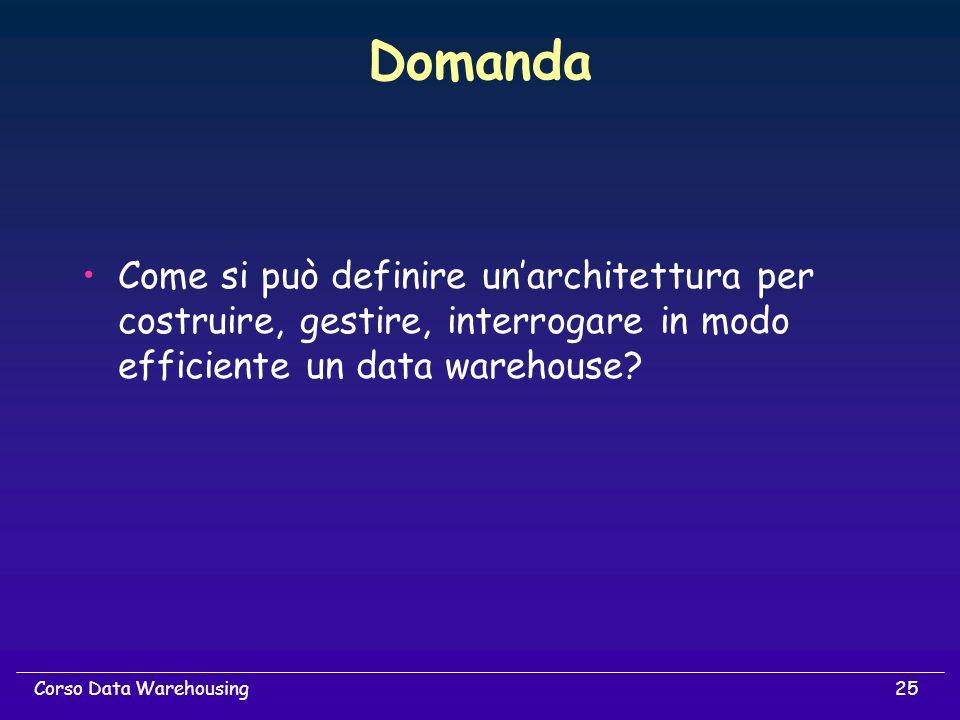 25Corso Data Warehousing Domanda Come si può definire unarchitettura per costruire, gestire, interrogare in modo efficiente un data warehouse?