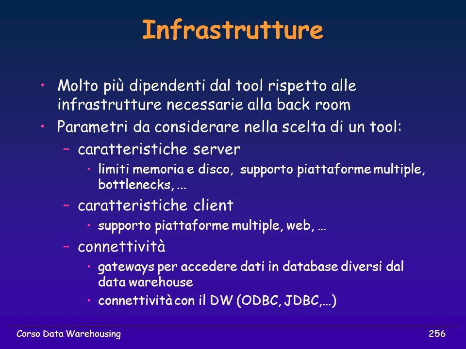 256Corso Data Warehousing Infrastrutture Molto più dipendenti dal tool rispetto alle infrastrutture necessarie alla back room Parametri da considerare