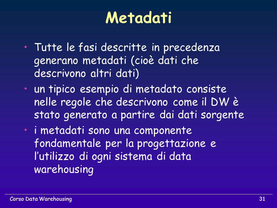 31Corso Data Warehousing Metadati Tutte le fasi descritte in precedenza generano metadati (cioè dati che descrivono altri dati) un tipico esempio di m
