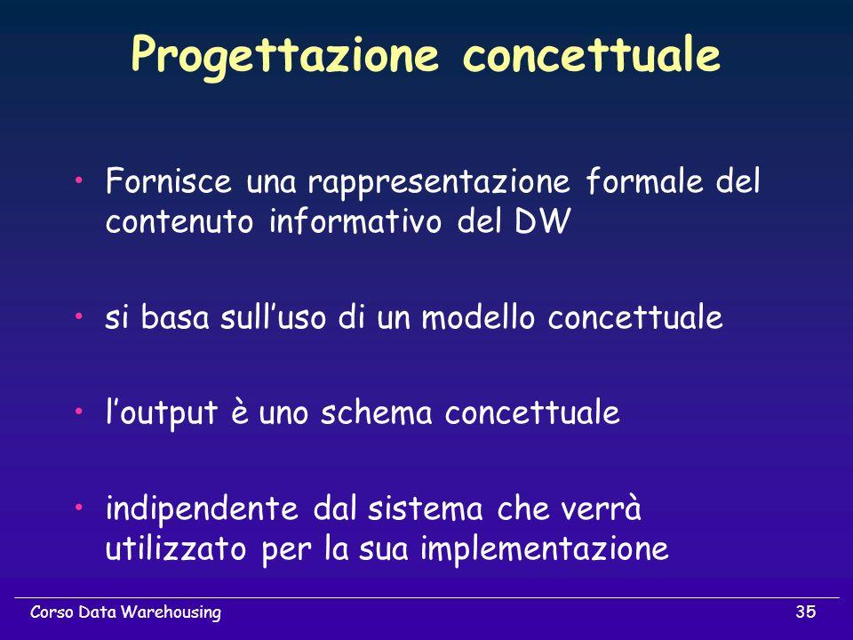 35Corso Data Warehousing Progettazione concettuale Fornisce una rappresentazione formale del contenuto informativo del DW si basa sulluso di un modell