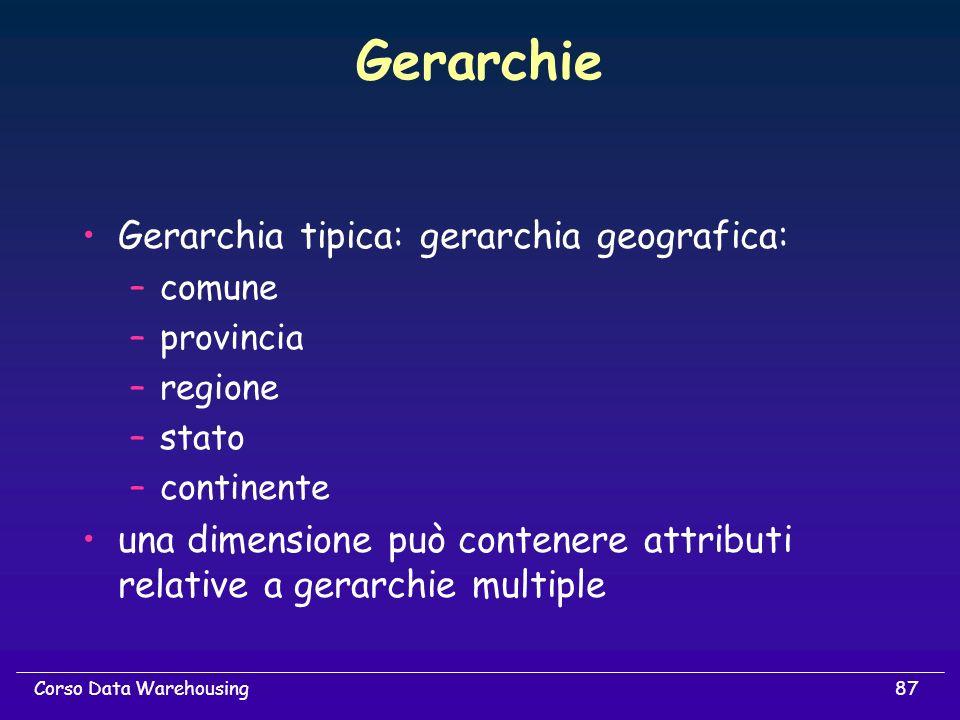 87Corso Data Warehousing Gerarchie Gerarchia tipica: gerarchia geografica: –comune –provincia –regione –stato –continente una dimensione può contenere