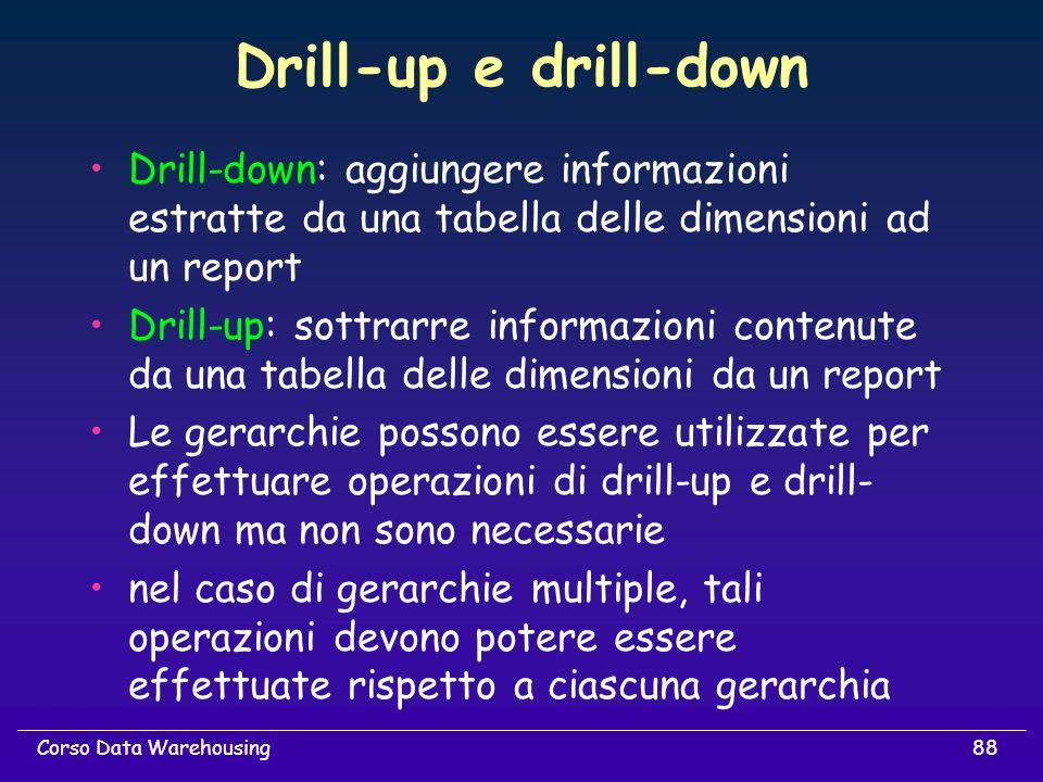 88Corso Data Warehousing Drill-up e drill-down Drill-down: aggiungere informazioni estratte da una tabella delle dimensioni ad un report Drill-up: sot