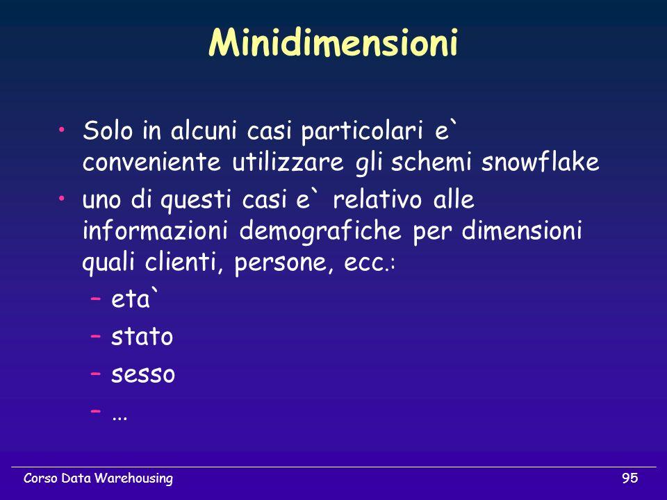 95Corso Data Warehousing Minidimensioni Solo in alcuni casi particolari e` conveniente utilizzare gli schemi snowflake uno di questi casi e` relativo