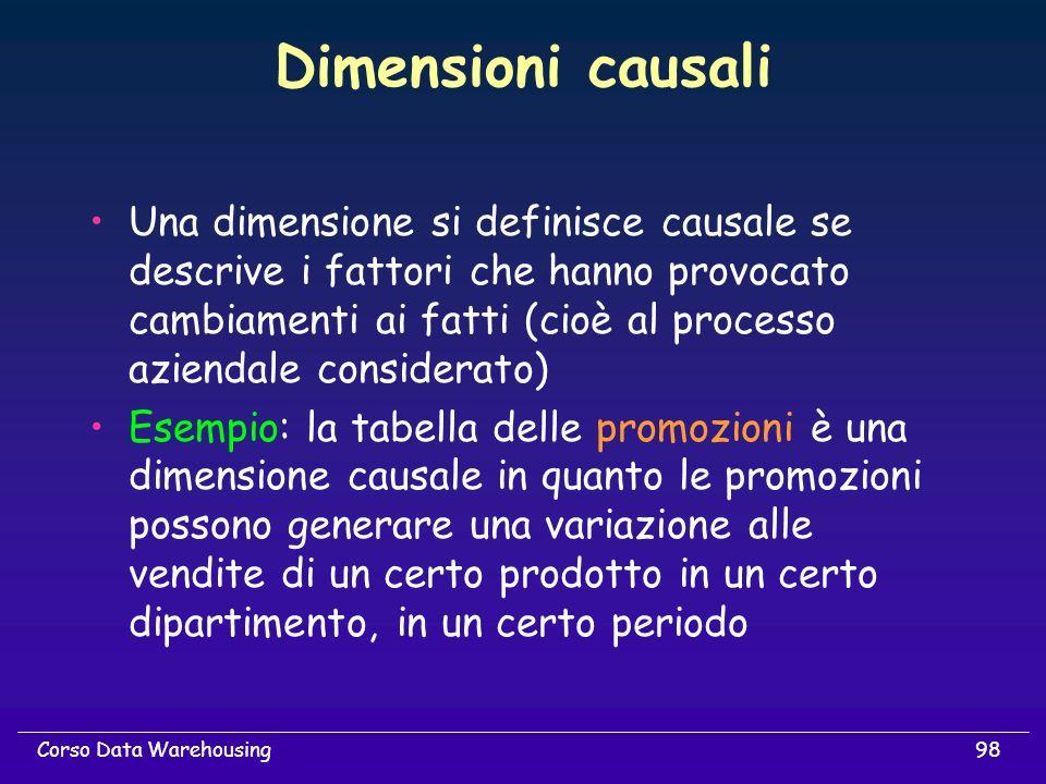 98Corso Data Warehousing Dimensioni causali Una dimensione si definisce causale se descrive i fattori che hanno provocato cambiamenti ai fatti (cioè a