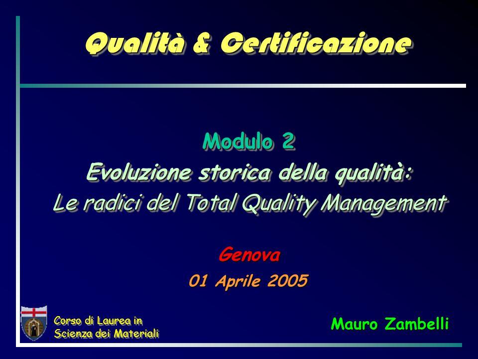 Corso di Laurea in Scienza dei Materiali Qualità & Certificazione 01 Aprile 2005 Modulo 2 Evoluzione storica della qualità: Le radici del Total Qualit