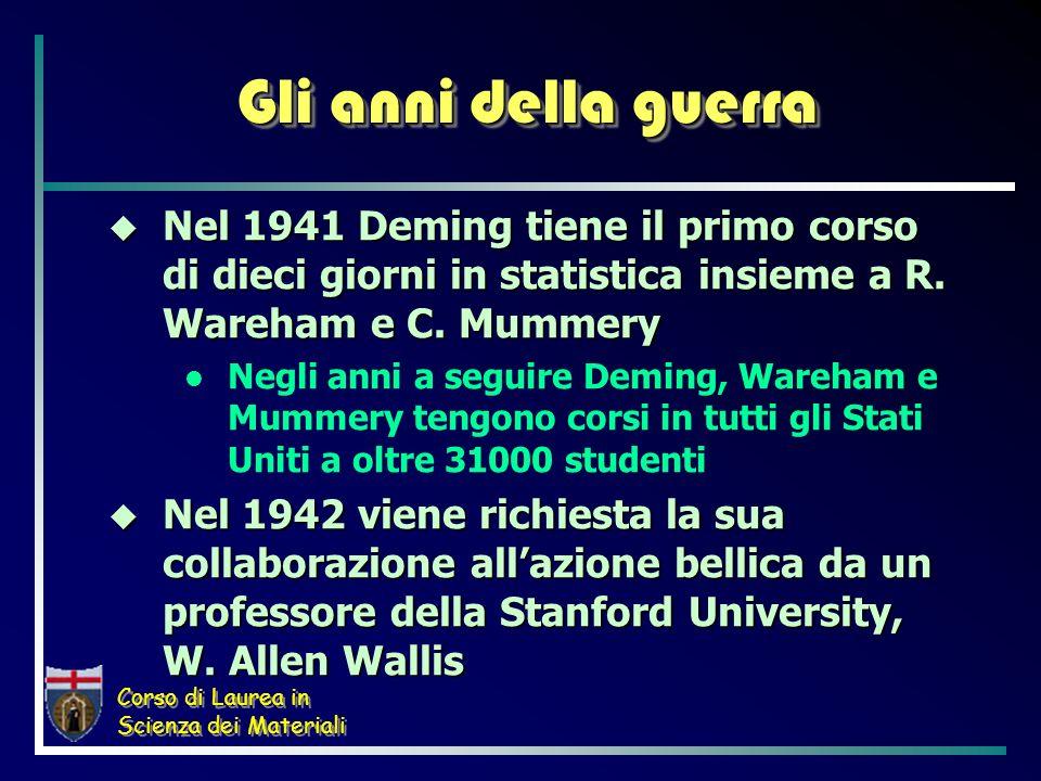 Corso di Laurea in Scienza dei Materiali Gli anni della guerra Nel 1941 Deming tiene il primo corso di dieci giorni in statistica insieme a R. Wareham