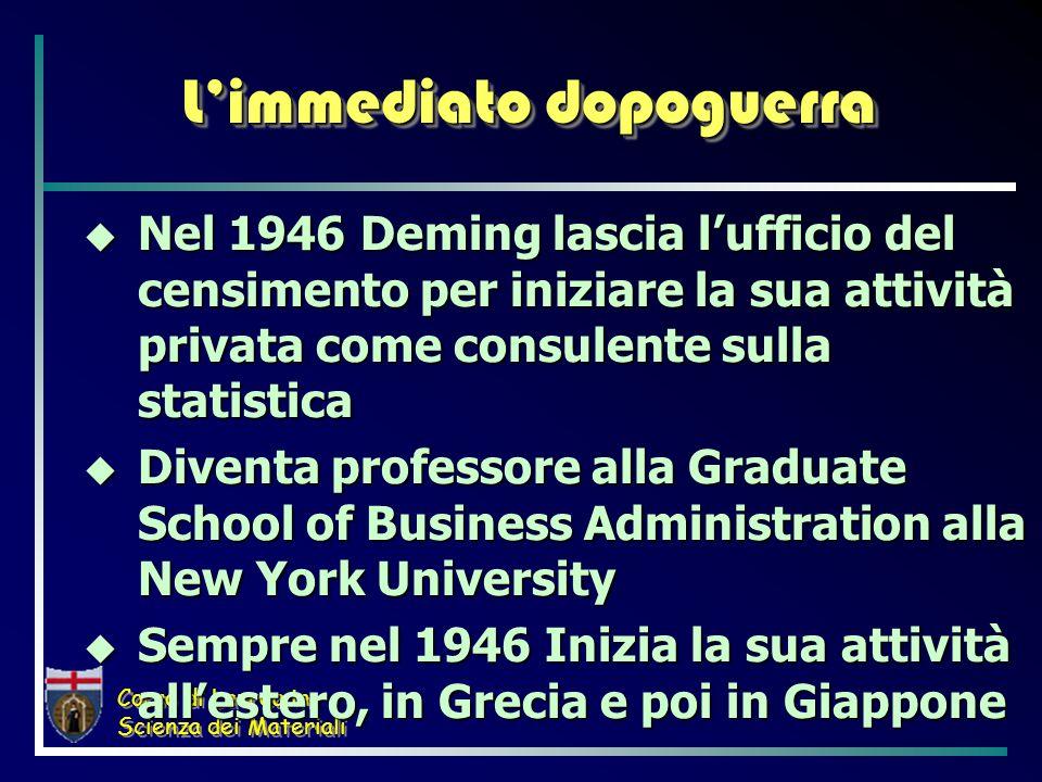 Corso di Laurea in Scienza dei Materiali Limmediato dopoguerra Nel 1946 Deming lascia lufficio del censimento per iniziare la sua attività privata com