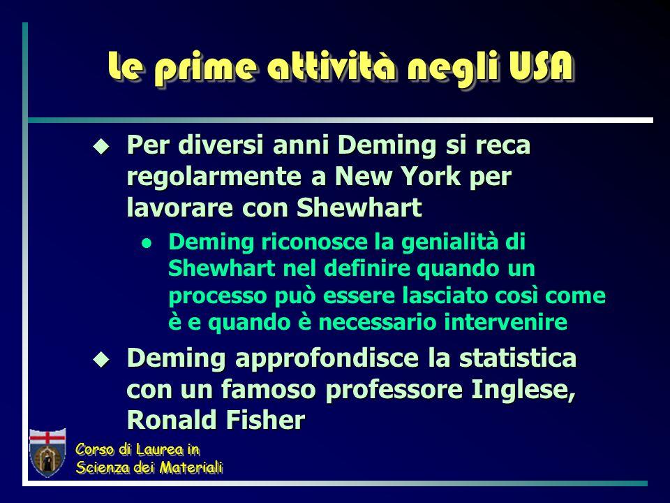 Corso di Laurea in Scienza dei Materiali Le prime attività negli USA Per diversi anni Deming si reca regolarmente a New York per lavorare con Shewhart