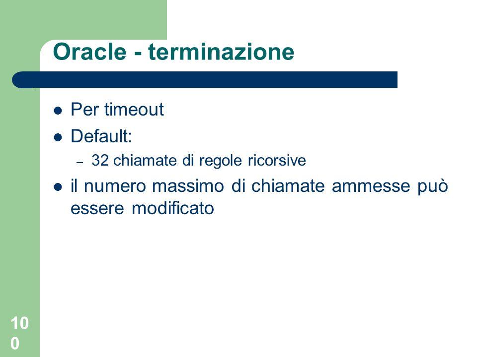 100 Oracle - terminazione Per timeout Default: – 32 chiamate di regole ricorsive il numero massimo di chiamate ammesse può essere modificato