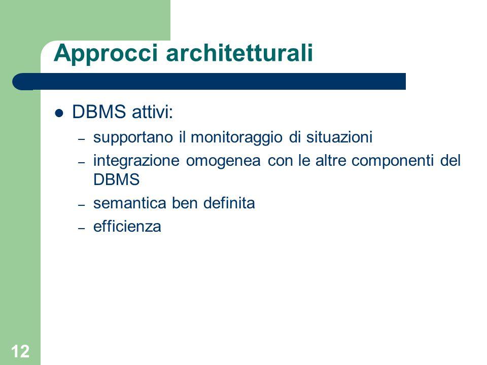 12 Approcci architetturali DBMS attivi: – supportano il monitoraggio di situazioni – integrazione omogenea con le altre componenti del DBMS – semantica ben definita – efficienza