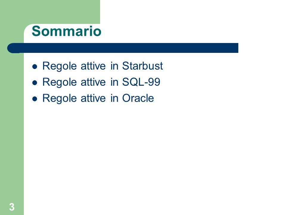 74 SQL-99 - modalità di esecuzione La valutazione avviene secondo il seguente ordine: i trigger di diverso tipo vengono eseguiti nel seguente ordine – trigger BEFORE STATEMENT – per ogni tupla oggetto del comando trigger BEFORE ROW comando e verifica dei vincoli di integrità trigger AFTER ROW – verifica dei vincoli che richiedono di aver completato il comando – trigger AFTER STATEMENT per ogni tipologia, se esiste più di un trigger, si considera lordine di creazione