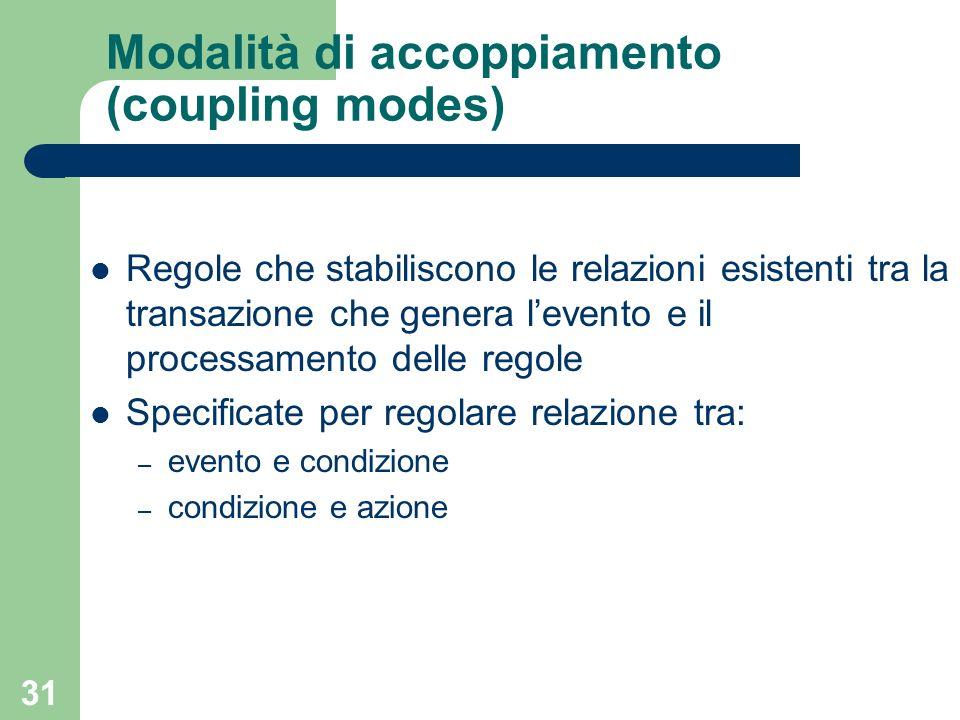 31 Modalità di accoppiamento (coupling modes) Regole che stabiliscono le relazioni esistenti tra la transazione che genera levento e il processamento delle regole Specificate per regolare relazione tra: – evento e condizione – condizione e azione