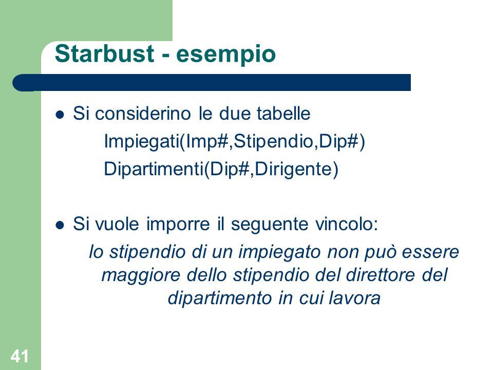 41 Starbust - esempio Si considerino le due tabelle Impiegati(Imp#,Stipendio,Dip#) Dipartimenti(Dip#,Dirigente) Si vuole imporre il seguente vincolo: lo stipendio di un impiegato non può essere maggiore dello stipendio del direttore del dipartimento in cui lavora