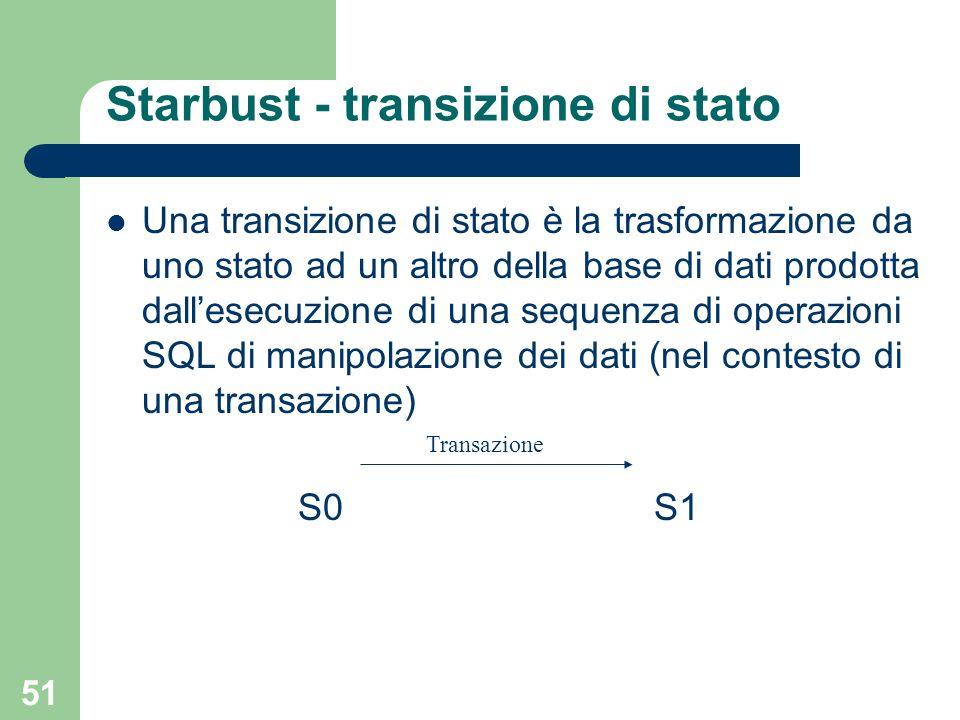 51 Starbust - transizione di stato Una transizione di stato è la trasformazione da uno stato ad un altro della base di dati prodotta dallesecuzione di una sequenza di operazioni SQL di manipolazione dei dati (nel contesto di una transazione) S0 S1 Transazione