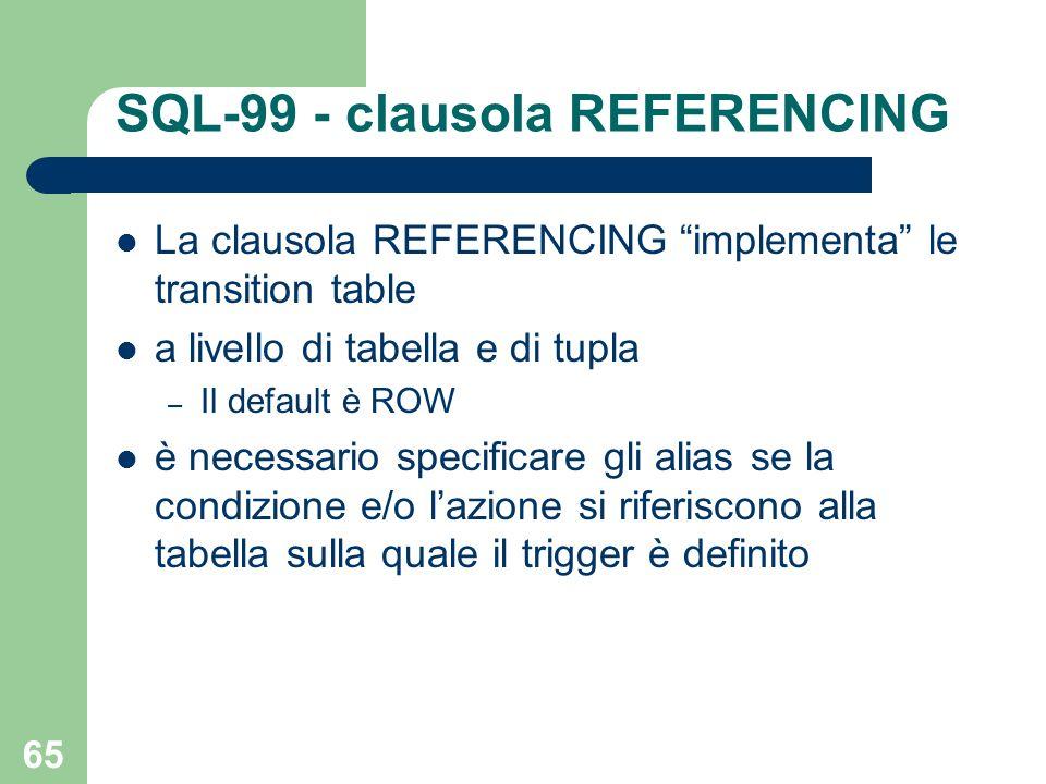 65 SQL-99 - clausola REFERENCING La clausola REFERENCING implementa le transition table a livello di tabella e di tupla – Il default è ROW è necessario specificare gli alias se la condizione e/o lazione si riferiscono alla tabella sulla quale il trigger è definito