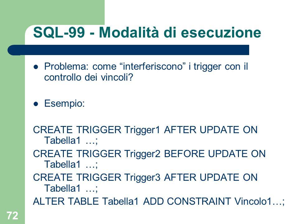 72 SQL-99 - Modalità di esecuzione Problema: come interferiscono i trigger con il controllo dei vincoli.